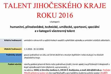 Talent jihočeského kraje 2016